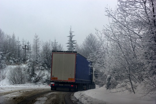 truck on snowy road