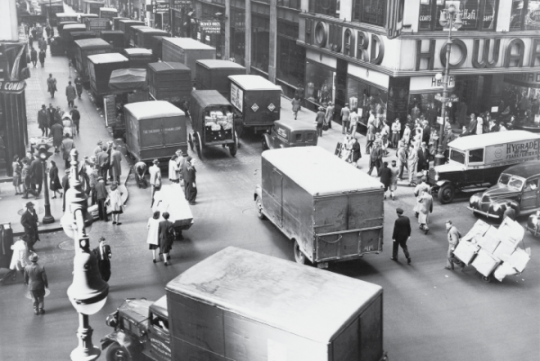history of freight shipping back and white old market