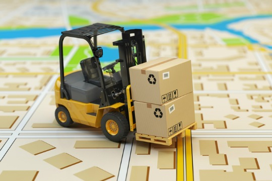 Forklift on map